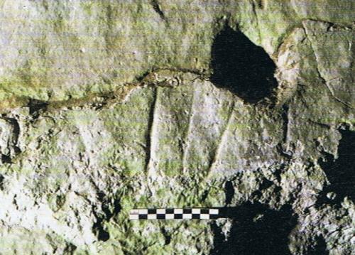 Grabados exteriores en la cueva de Las Caldas. © Eduardo García. Principado de Asturias, Consejería de Cultura
