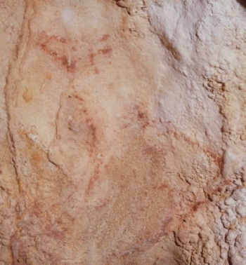Cierva tamponada, cueva de Llonín. © Javier Fortea, Principado de Asturias, Consejería de Cultura