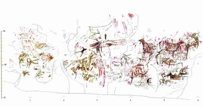 Reconstitución del arte rupestre del panel principal de La sala de Llonín. © Alba Rey, Principado de Asturias, Consejería de Cultura