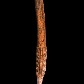 Azagaya decorada recogida en superficie en la cueva de Coímbre, depositada en el Museo Arqueológico de Asturias. © Texnai, Museo Arqueológico de Asturias