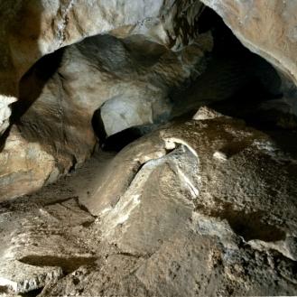 Además de tres conjuntos en la sala principal de la cueva, dos más se ubican en galerias secundarias cuyos accesos se encuentran en la pared izquierda de la sala principal. © Equipo Norte, Ministerio de Educación y Cultura.