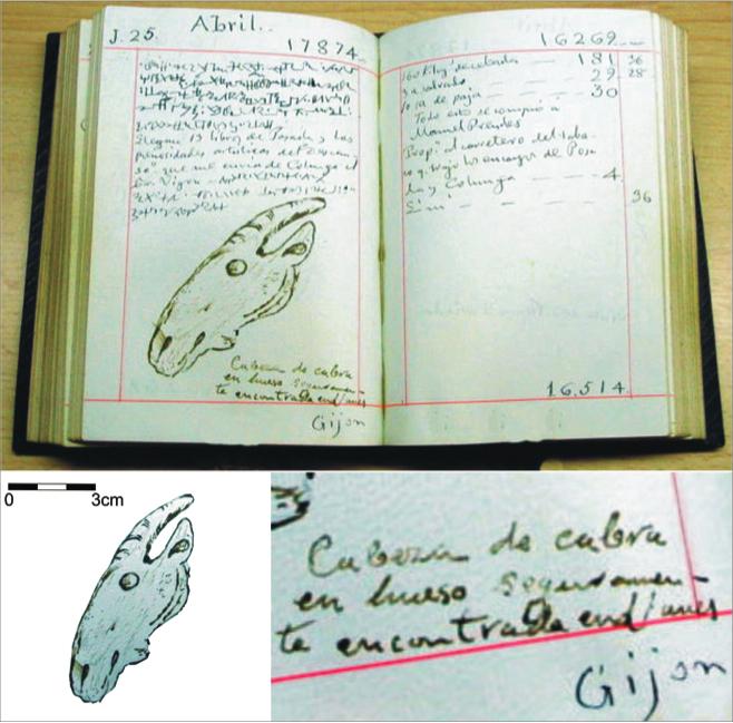 Dibujo de una escultura en forma de cabeza de cabra, documentada en los diarios del coleccionista Sebastián Soto Cortés