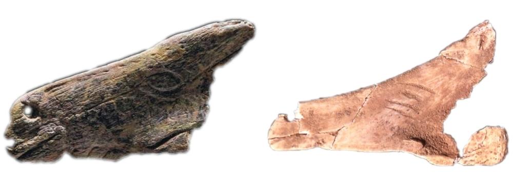 A la izquierda, contorno recortado sobre hioides del abrigo de La Viña (© Ástur Paredes, Asociación Belenos). A la derecha, contorno recortado en forma de cabeza de caballo de Tito Bustillo (© Museo Arqueológico de Asturias)