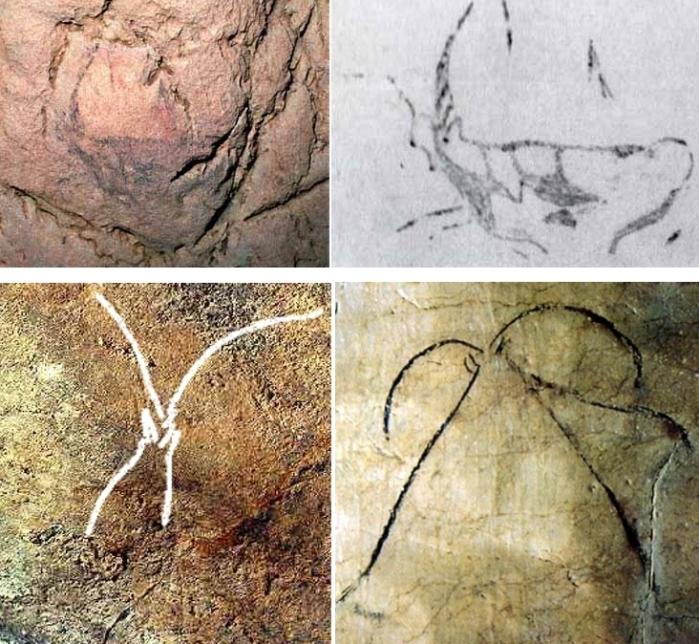 Ejemplos de representaciones de cabras frontales en el arte parietal. Arriba Ekain; abajo, a la izquierda, El Otero (calco sobre fotografía); a la derecha, Niaux