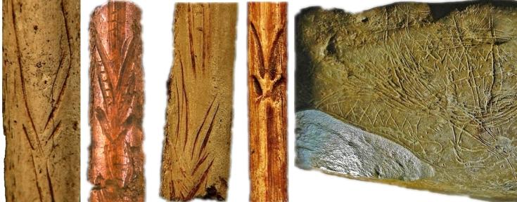 Motivos decorativos de esquematizaciones de cabras en perspectiva frontal, sobre distintos soportes. De izquierda a derecha: Chora, El Valle, El Pendo y bloque de Abauntz
