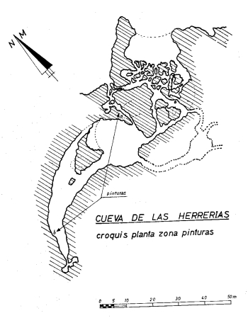 Plano de la cueva de Herrerías, con indicación de las zonas decoradas. © Francisco Jordá y Manuel Mallo