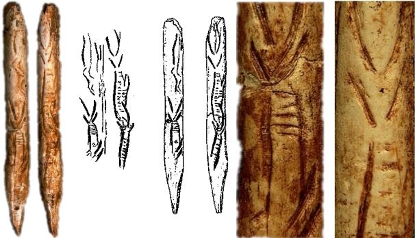 Cincel retocador o azagaya de Tito Bustillo, con estilizaciones de cabra en perspectiva frontal. De izquierda a derecha: vista de anverso y lateral, calco y detalles de los motivos decorativos © Texnai, Museo Arqueológico de Asturias