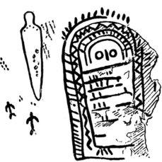 Calco de la parte derecha del conjunto rupestre de Peña Tú
