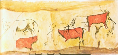 Calco de Francisco Jordá del panel de la cueva de Les Pedroses