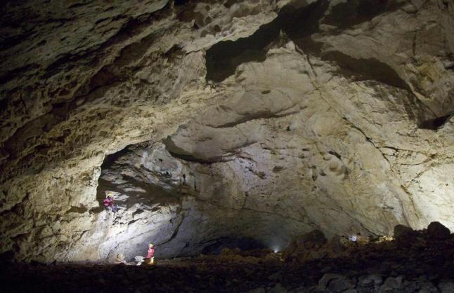 Sala donde se ubican los paneles decorados de la cueva de Pruneda. © Centro de Interpretación de la Fauna Glacial