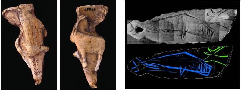 A la izquierda, colgante de Mas d'Azil sobre diente de cachalote; a la derecha, colgante de Arancou, con representación de cetáceo. © Loïc Hamon; Carole Fritz