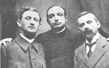 De izquierda a derecha, Hugo Obermaier, Henri Breuil y Hermilio Alcalde del Río