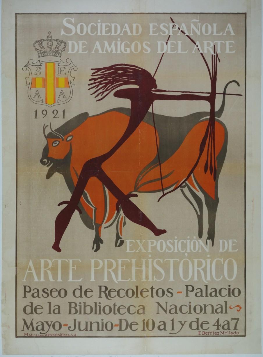 Cartel realizado por Francisco Benítez Mellado para la Exposición de Arte Prehistórico Español de 1921.