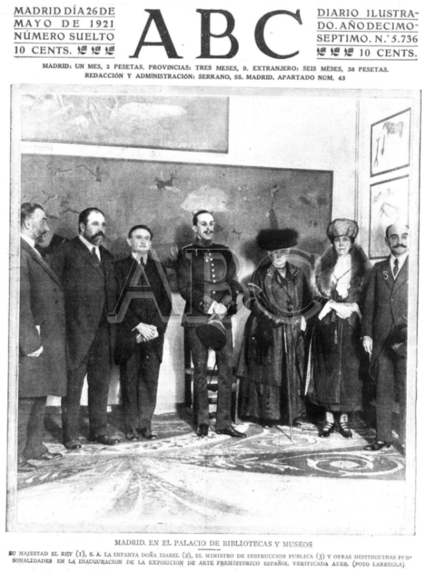 Portada del ABC, con la fotografía de la inauguración de la Exposición de Arte Prehistórico Español © ABC