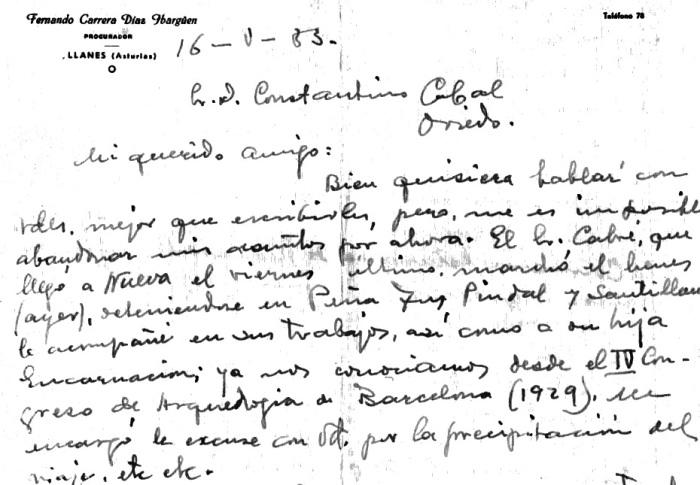 Correspondencia de Díaz-Ibargüen con Constantino Cabal